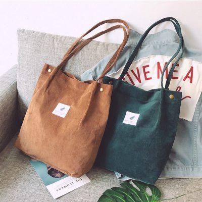 Bags for Women Corduroy Shoulder Bag Reusable Shopping Bags Casual Tote