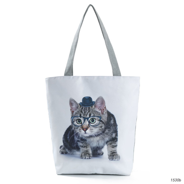 New cartoon cute cat print women's shoulder bag