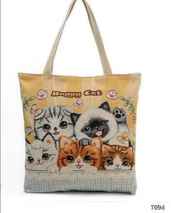 Embroidered cat tote handbags cute cat shoulder bag