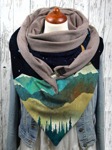 Colorful landscape print button scarf shawl winter windproof