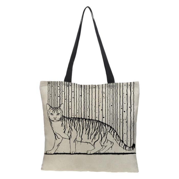 Black Cat Printed Linen Fabric Eco Handbag Reusable Shoulder Bag
