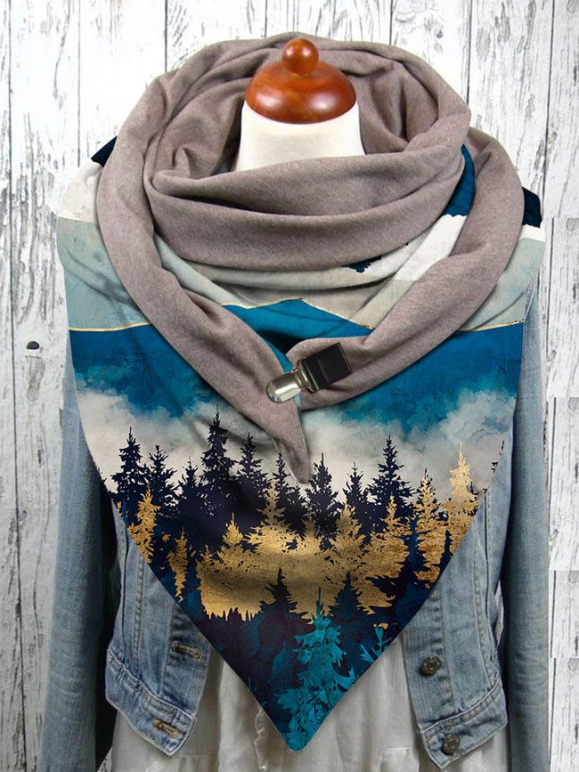 Colorful mountain peak woods print button scarf shawl winter windproof
