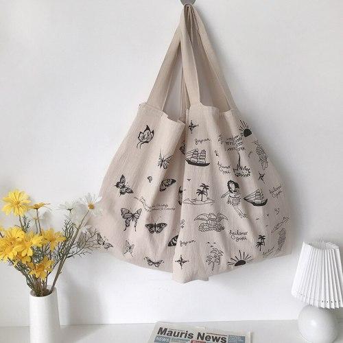 Cotton Linen Women Canvas Eco Friendly Shoulder  Vintage Butterfly Print