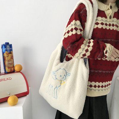 Lamb Like Fabric Shoulder Bag Simple Handbag Large Capacity Embroidery Shopping Bag