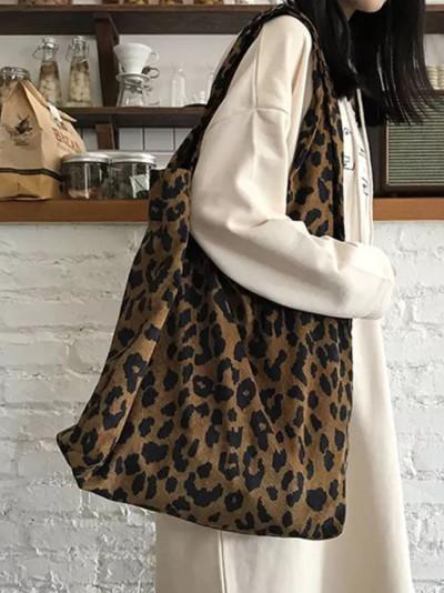 Fashion Women Leopard Satchel Casual Tote BagLarge Capacity Eco Bags
