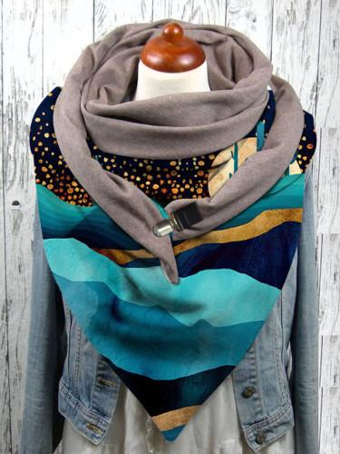 Color iceberg print button scarf shawl winter windproof