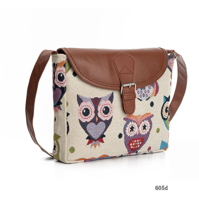 Owl canvas jacquard ladies diagonal bag shoulder bag