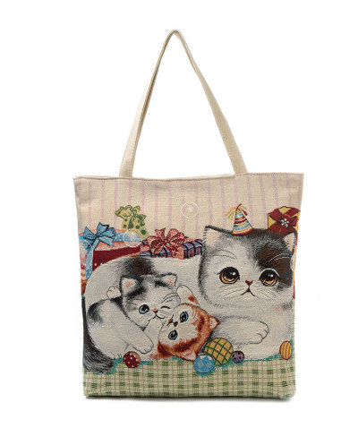 Embroidered cat tote handbags cute cat shoulder bag
