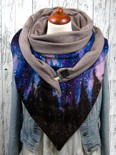 Landscape print button scarf soft wrap warmth shawl winter windproof