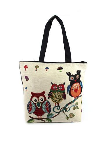 Owl print handbag knitted canvas beach bag ethnic style ladies shoulder bag
