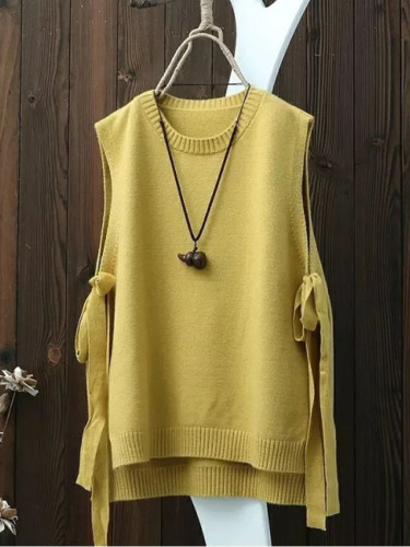 Round neck solid color knitted waistcoat women's vest