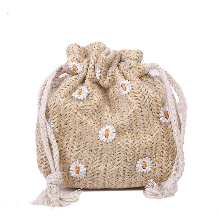 Straw Weave Bucket Bags Rattan Women Summer Beach Shoulder Bags Handbags