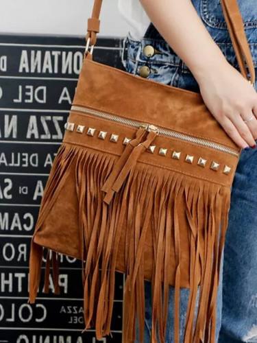 Women Pu Leather Bag Shoulder Bags Tassel Messenger Bags