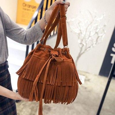 Retro Faux Suede Fringe Women Messenger Bags Tote Crossbody Bag