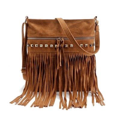 Women Pu Leather Bag Shoulder Bags Tassel Messenger Bags