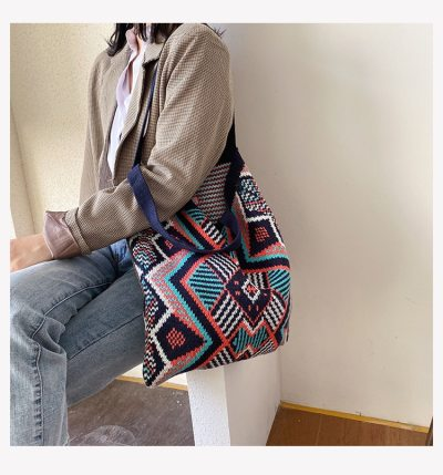 Lady Knitting Bohemian Chic Tote Bag Women Crochet Handbag