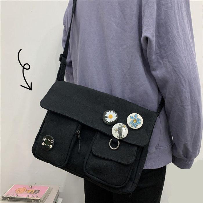 Canvas Diagonal Cross Bag Fashion Casual Version Large Capacity Shoulder Bag