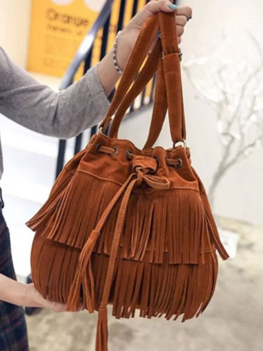 Retro Faux Suede Fringe Women Messenger Bags Tote Crossbody Bag