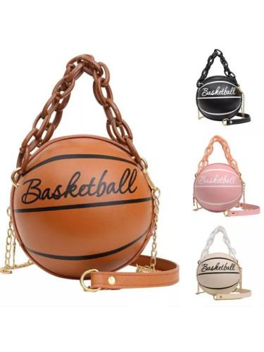 Basketball Shape Hand Bag Chains Handbag Letter Shoulder Female Crossbody Bags