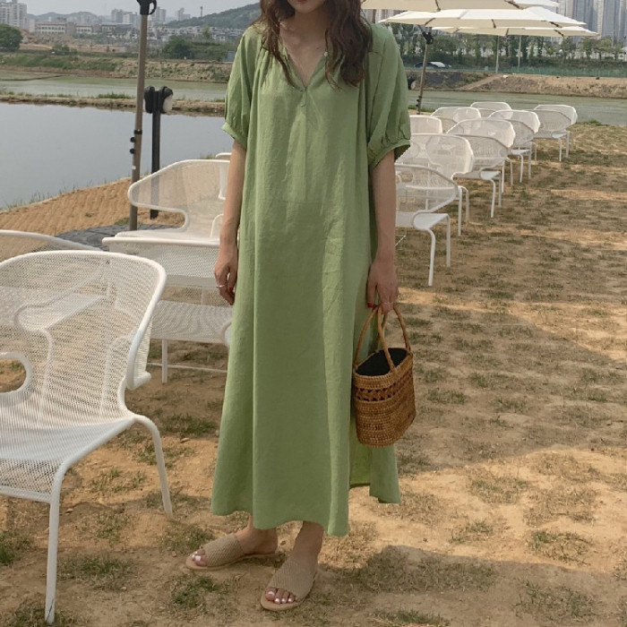 Solid Cotton Casual Loose Dress Holiday Sundress Women Midi V Neck Robe