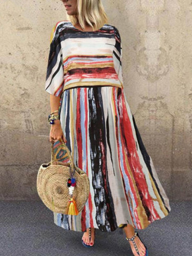 Fashion Bohemian Dress Summer Striped Patchwork Sundress