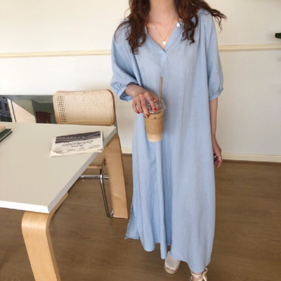 Solid Cotton Casual Loose Dress Holiday Sundress Women Midi V Neck Robe