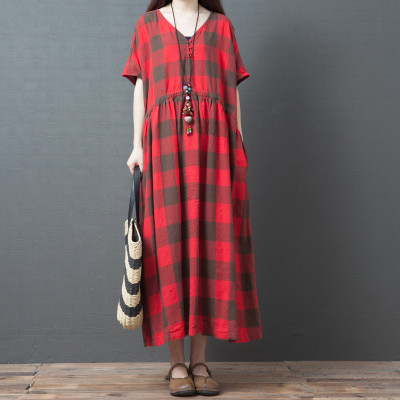 New style loose plus size women's fashion comfortable plaid midi skirt