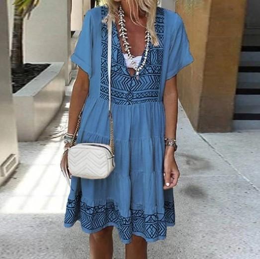 Bohemian Printed V Neck Ruffle Female Short Sleeve Patchwork Summer Robe