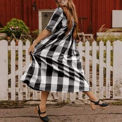 Casual Short Sleeve Buttons Elegant Sundress Midi Dress Plaid Printed Robe