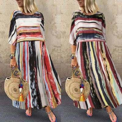 Fashion Bohemian Dress Summer Striped Patchwork Sundress