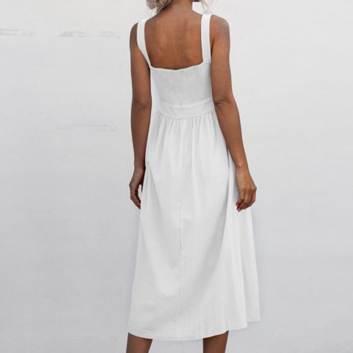 Summer Dress Women Sexy Casual Solid Maxi Dresses Sleeveless Square Neck