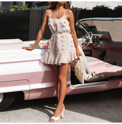 Ruffles Women Summer Dress Boho Beige Backless Beach Sundress Elegant