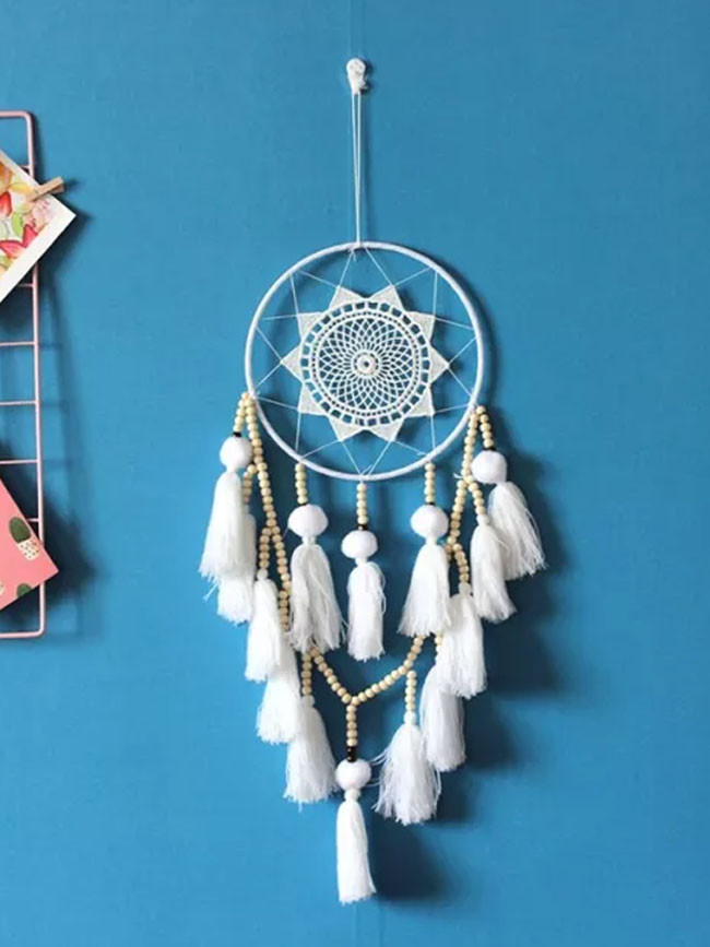 Round Metal Ring Circle Lace Fringed Dream Catchers Vintage Wall Hanging Home Decor