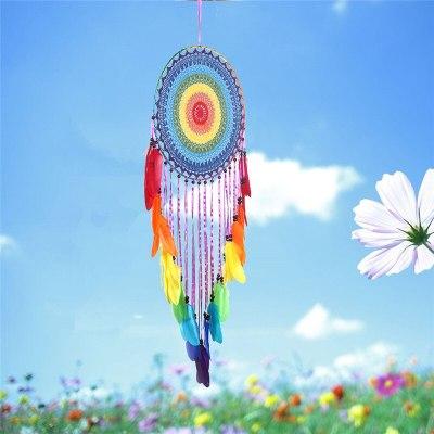 40cm Round Colorful Feather Dream Catchers Home Decor Ornaments