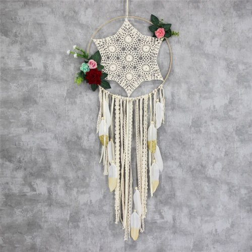 Handmade 35cm Metal Ring Circle Wall Hanging Home Ornaments Feather Dream Catchers