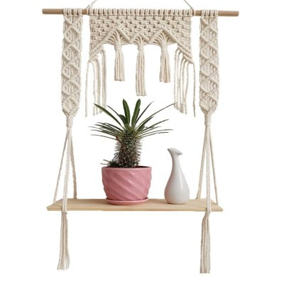 Bohemian Handmade Wooden Wall Hanging Tassel Floating Shelf Macrame Home Decor