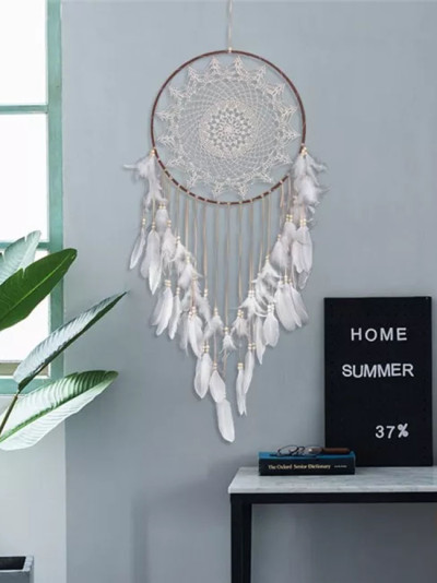 Handmade Feather Dream Catchers Round Metal Ring Circle Hanging Home Decor