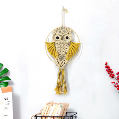New cotton rope woven tapestry cute owl handmade wall decoration