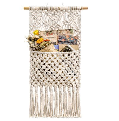 Handmade cotton rope woven tapestry storage bag wall hanging decoration