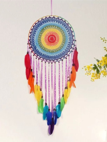 40cm Round Colorful Feather Dream Catchers Home Decor Ornaments