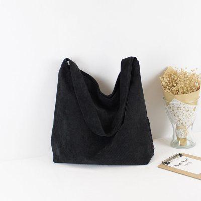 Women Corduroy Shoulder Bag Canvas Fabric Handbag Books Bag