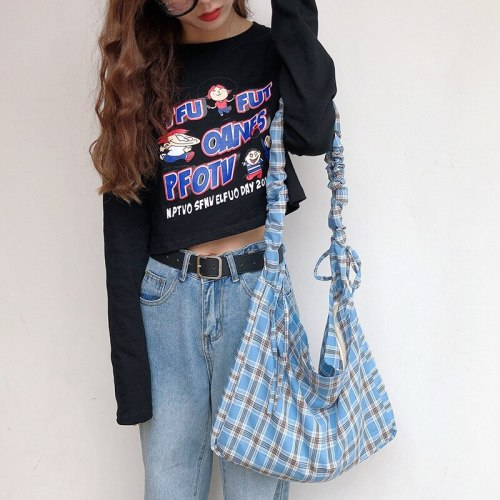 Vintage Plaid Large Capacity Shoulder Bag Ladies Canvas Corssbody Bag