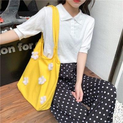 Women Canvas Shoulder Bag Bright Daisies Cotton Cloth Handbag Flower Casual Totes