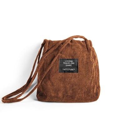 Women Corduroy Bag Pure Cotton Eco Cloth Crossbody Shoulder Bags