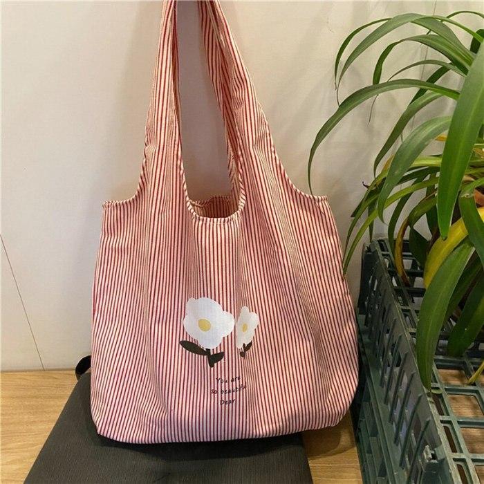 Women Canvas Shoulder Bag Vertical Stripes Large Capacity Cloth Tote Eco Shopping Bag