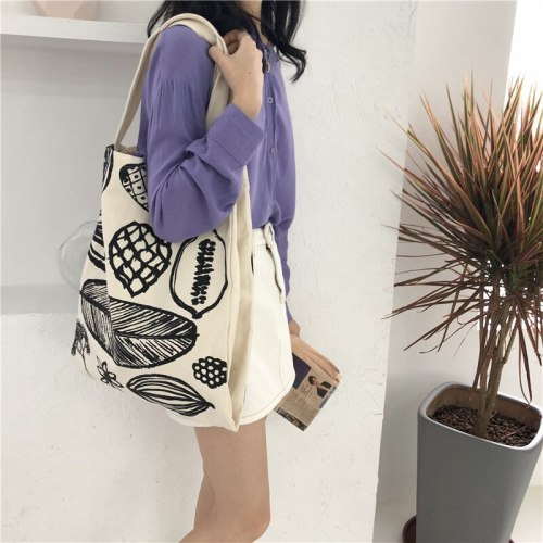 Women Canvas Shoulder Bag Leaf Printing Large Capacity Eco Pure Cotton Handbag
