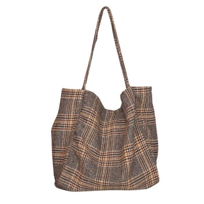 Woolen Vintage Plaid Large Capacity Tote Ladies Casual Shoulder Bag