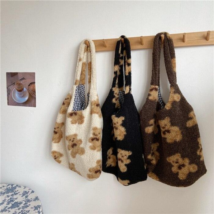 Fall Winter Shoulder Bag Warm Plush Cloth Fabric Handbag Soft Tote Book Bags