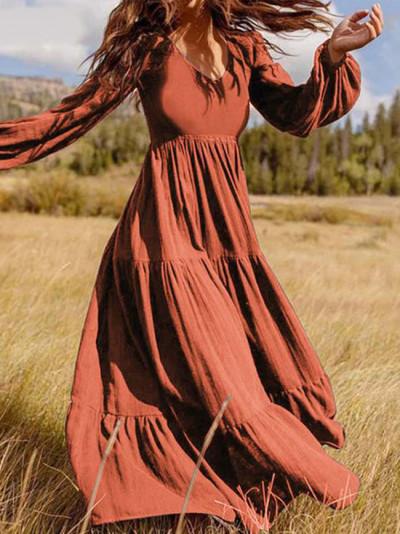 3/4 Sleeve Linen V Neck Plain Dresses