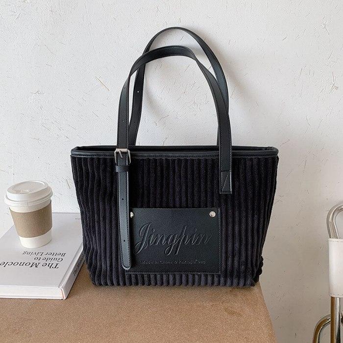 Corduroy Leather Patchwork Shoulder Bag Soft Plush Stripes Handbag